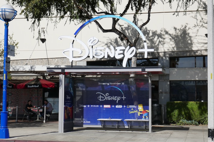 Disney+ transit bus shelter West Hollywood