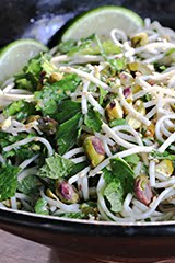 Mile High Soba Salad w/ Avocado, Pistachios, Crushed Cardamom Seeds, Herbs & Lime