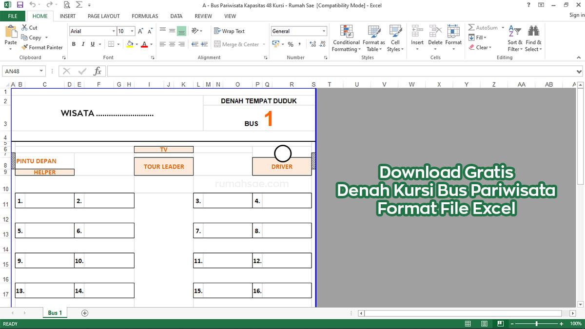 Download Gratis Denah Kursi Bus Pariwisata File Excel