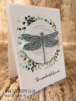 This image shows a handmade card featuring a dragonfly stamped using the Dragonfly Dreams stamp set and Mint Macaron ink by Stampin' Up!