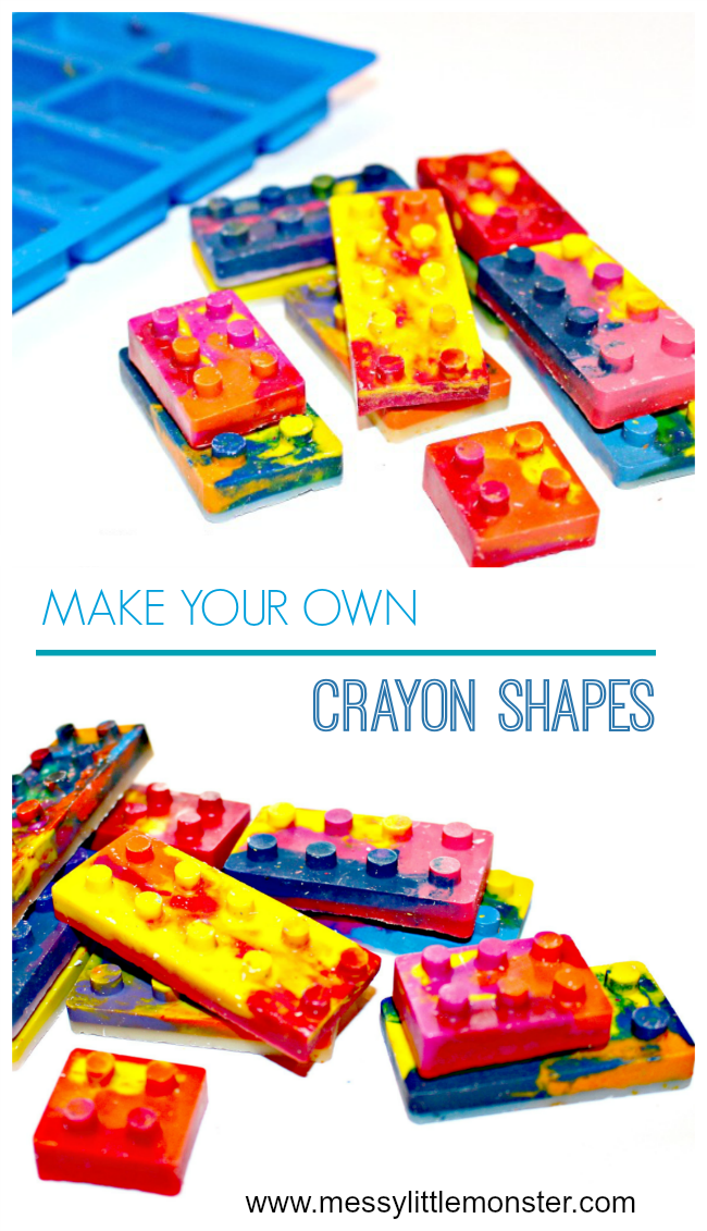 How to make your own lego shaped rainbow crayons. Follow our easy DIY homemade crayon instructions to turn broken recycled crayons into new shapes. An easy kid made gift idea and fun book activity to go alongside 'The Day the Crayons Quit'. A great activity for preschoolers and older kids. Also good for simple science activities based on melting, solids and liquids.