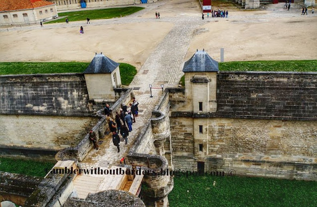 Bridge to donjon over a deep moat, Vincennes Castle, Paris, France