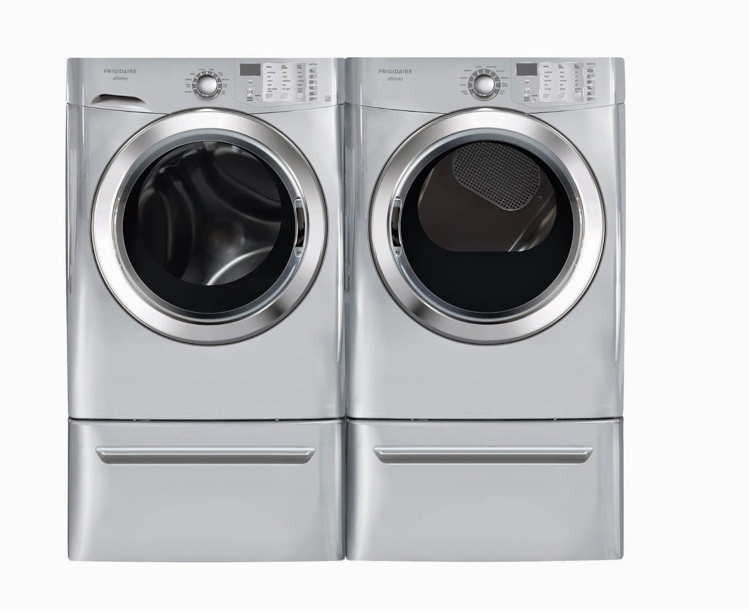 Silver 3 8 Cf Front Load Steam Washer And 7 0 Electric Dryer Laundry Set