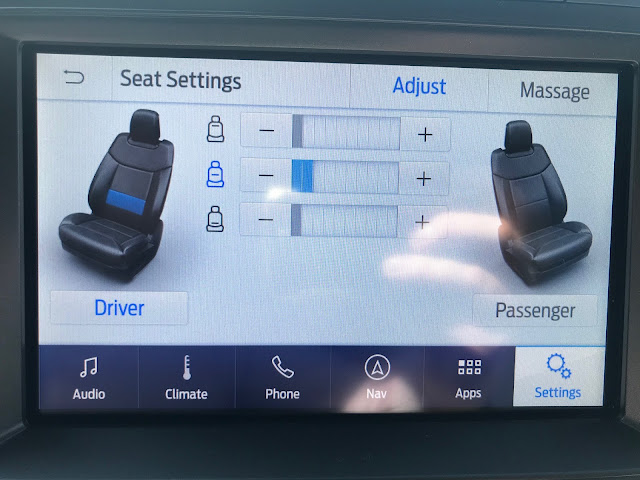 Seat massaging control screen in 2020 Ford Expedition Platinum
