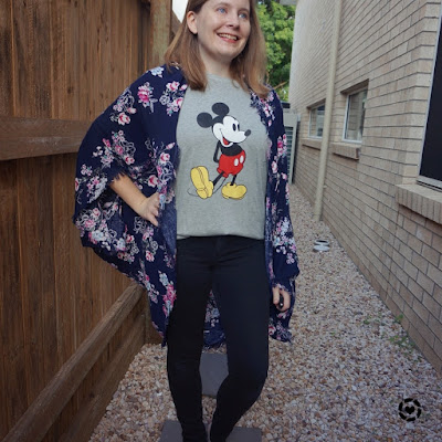 awayfromtheblue Instagram | navy floral kimono with black skinny jeans, mickey mouse graphic tee