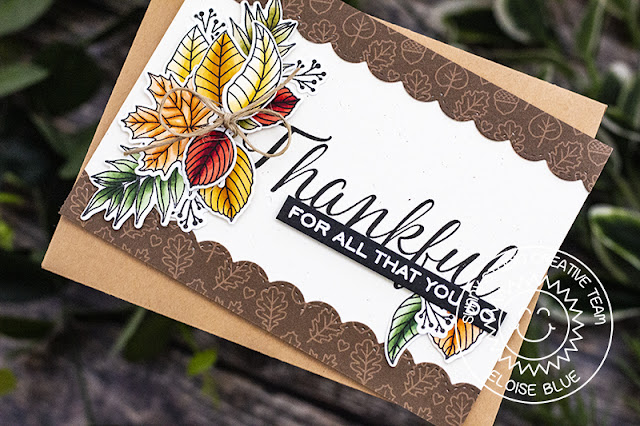 Sunny Studio Stamps: Elegant Leaves Stitched Scallop Dies Autumn Themed Thankful Card by Eloise Blue