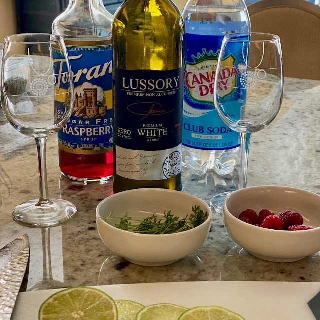 """Ingredients for a Alcohol Free White Wine """"Kir"""" Spritzer"""