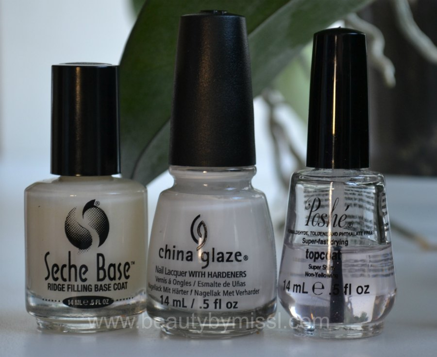 Seche Base Ridge Filling Base Coat, China Glaze White on White, Poshe topcoat