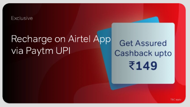Airtel Offer - Get Assured cashback of ₹50 on recharge of ₹149