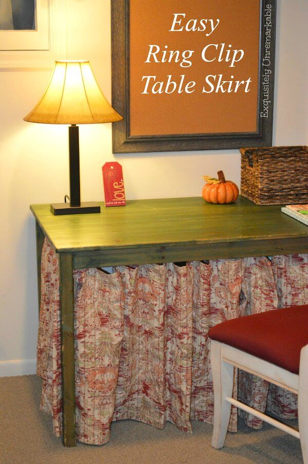 Easy Ring Clip Table Skirt text over photo of skirted desk