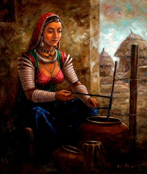 Beautiful Artwork Of Indian Woman Churning Butter By Famous Indian Artist Gopal Khetanchi.