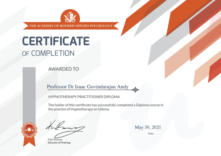 Dr Isaac Andy's Certification for Hypnotherapy Practitioner