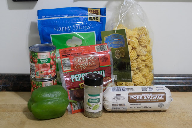 The ingredients needed for the Quick and Easy Pasta Pizza Recipe.