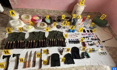 خطير وبالصور...هذه هي محجوزات الخلايا الإرهابية المفككة في 4 مدن مغربية... قراو التفاصيل✍️👇👇👇