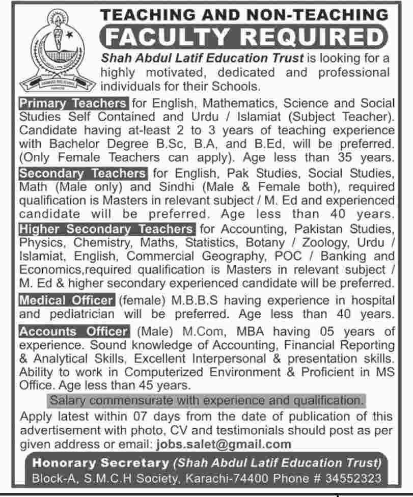 Jobs In Shah Abdul Latif Education Trust June 2019