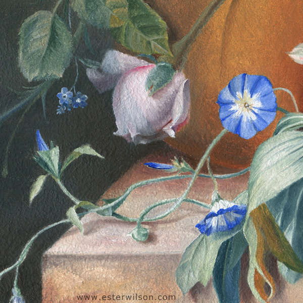 "detail of ""Wild Arrangement"", 14"" x 6"" oil painting on wood panel"