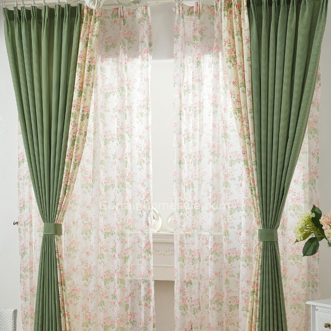 unique curtains and drapes with Green CottonPolka Dots and Flower Printing