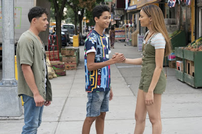 Anthony Ramos (Usnavi), Gregory Diaz IV (Sonny) y Leslie Grace (Nina)
