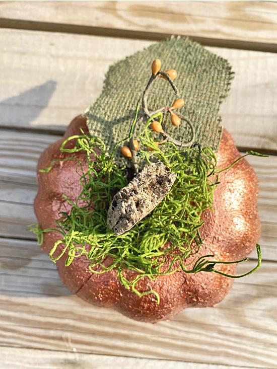 stem and moss on metallic pumpkin