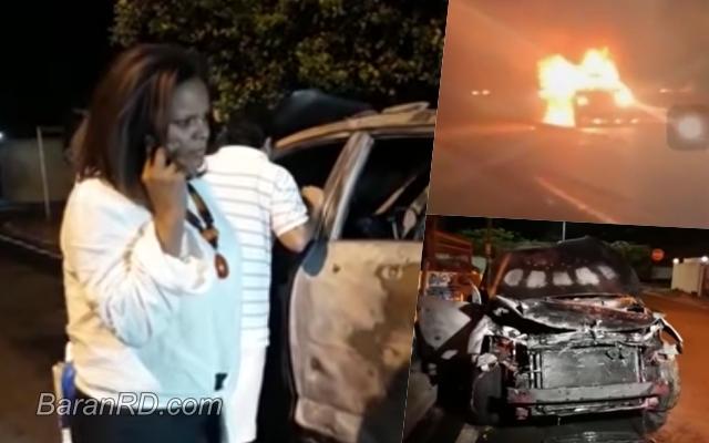 Video: Se incendia yipeta de la periodista Marivell Contreras