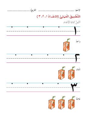 تعليم الارقام للأطفال ، تمارين على الارقام 1 - 2 - 3 ، واحد اثنين ثلاثة