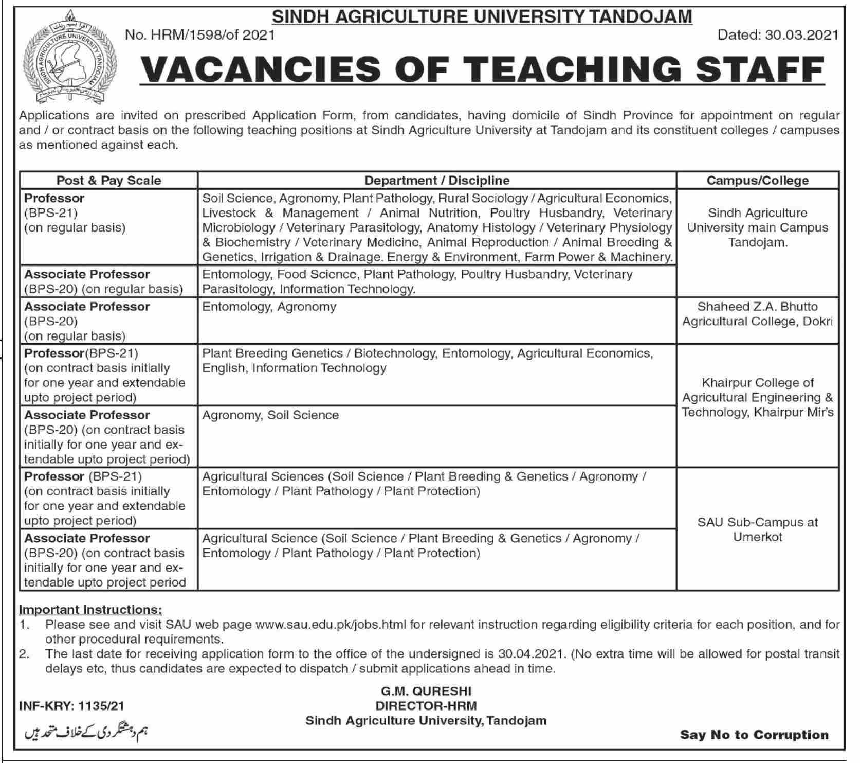 Sindh Agriculture University Tnadojam Jobs 2021 Latest Advertisement - Vacancies of Teaching Staff - Jobs in Sindh Agriculture University 2021