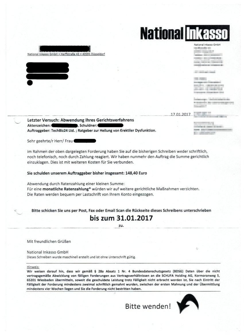 Zahlungsaufforderung National Inkasso Für Techbiz24 Ltd