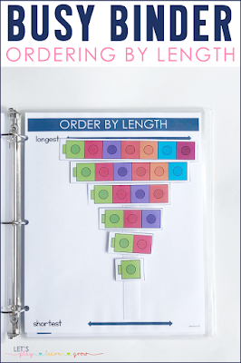 Order by Length Busy Binder Activity for Preschool