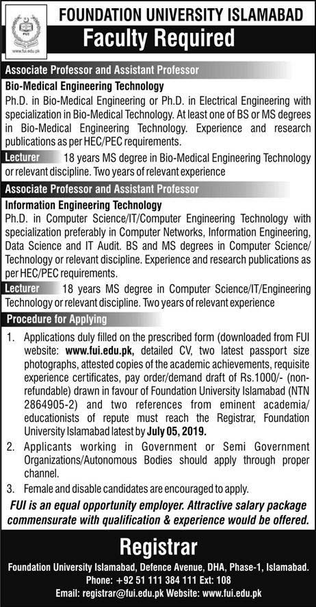 Jobs In Foundation University Islamabad