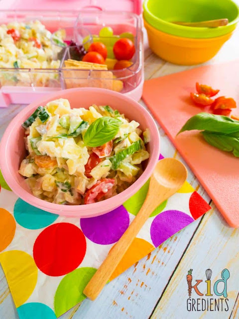 Pack the veggies in the lunchbox to take the stress out of dinner! This pasta salad is a lunchbox winner.