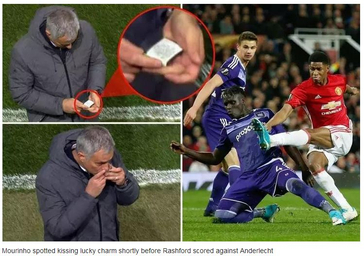 Mourinho Caught k!ss!ng lucky charm shortly before Rashford scored against Anderlecht [Video]
