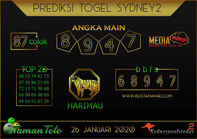 Prediksi Togel SYDNEY 2 TAMAN TOTO 26 JANUARI 2020