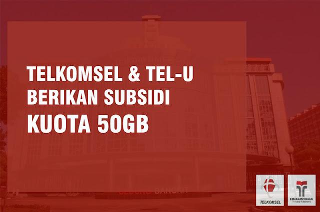 Cara Mendapatkan Kuota Gratis 50GB Telkomsel Tel-U