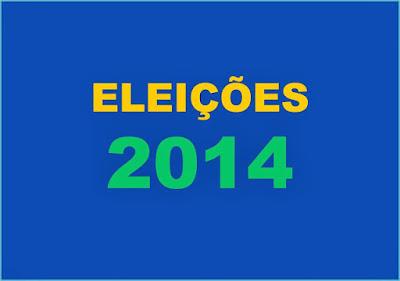 A imagem nas cores do Brasil diz: eleições 2014.