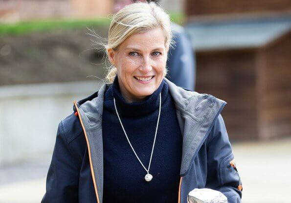 The Countess is patron of the Association of Show and Agricultural Organisations. navy coat and boots. The Countess visited DEBRA store