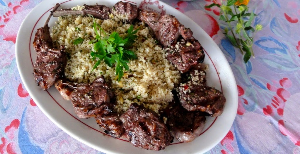 Grilled Lamb Chops with Minted Couscous Garbanzo Beans Recipe