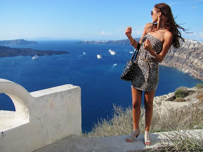 leopard print mini dress and beige lace-up sandals