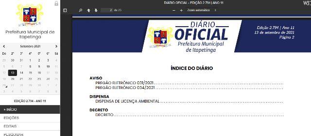 Print do Diário Oficial da Prefeitura de Itapetinga