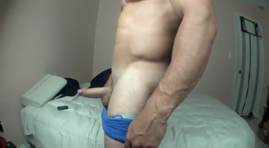 Daring jock gets ass inspected by hunk