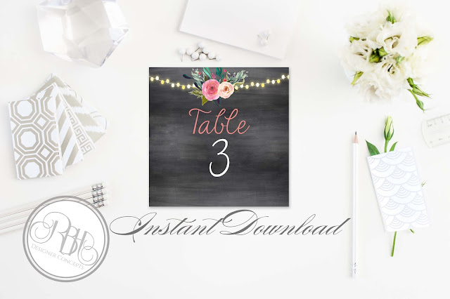 watercolour boho wedding table numbers by rbhdesignerconcepts.com