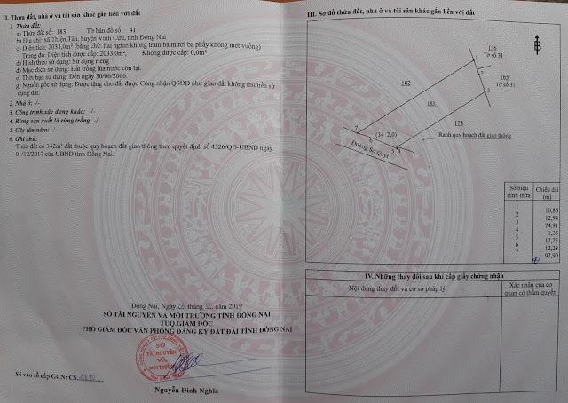 Bán đất Thiện Tân Vĩnh Cửu đường Sở Quýt Cắt trục đường chính DT768 2033 mv (CYNT)