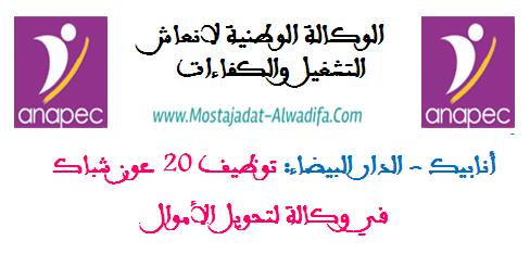 أنابيك - الدار البيضاء: توظيف 20 عون شباك في وكالة لتحويل الأموال