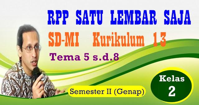 RPP SATU LEMBAR SD/MI KURIKULUM 2013 KELAS 2 (DUA) SEMESTER  II - GENAP - REVISI