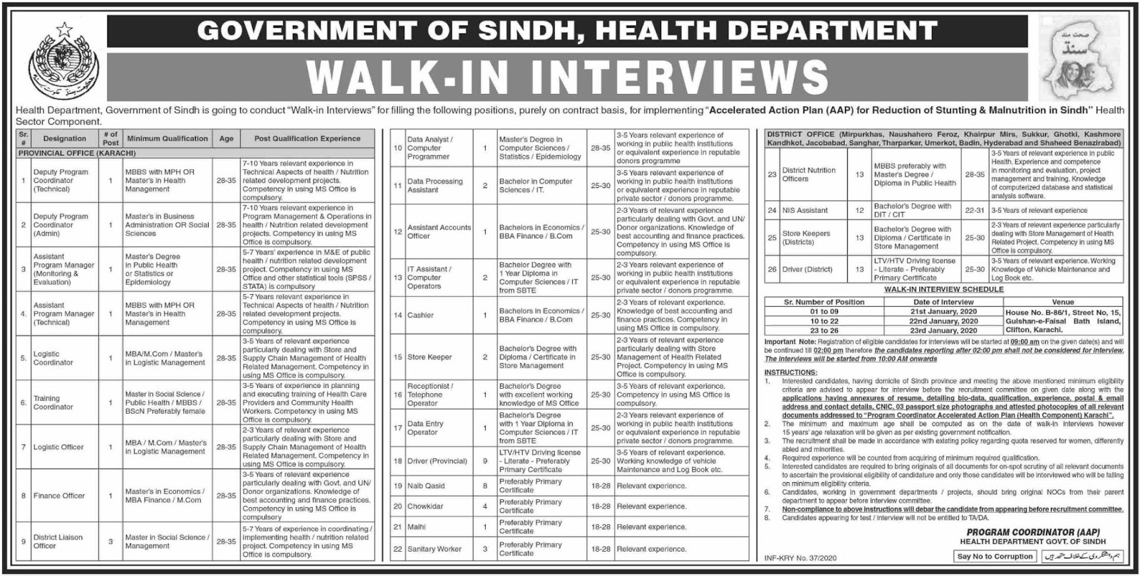 Walk-in Interviews Health Department Government of Sindh Jobs 2020