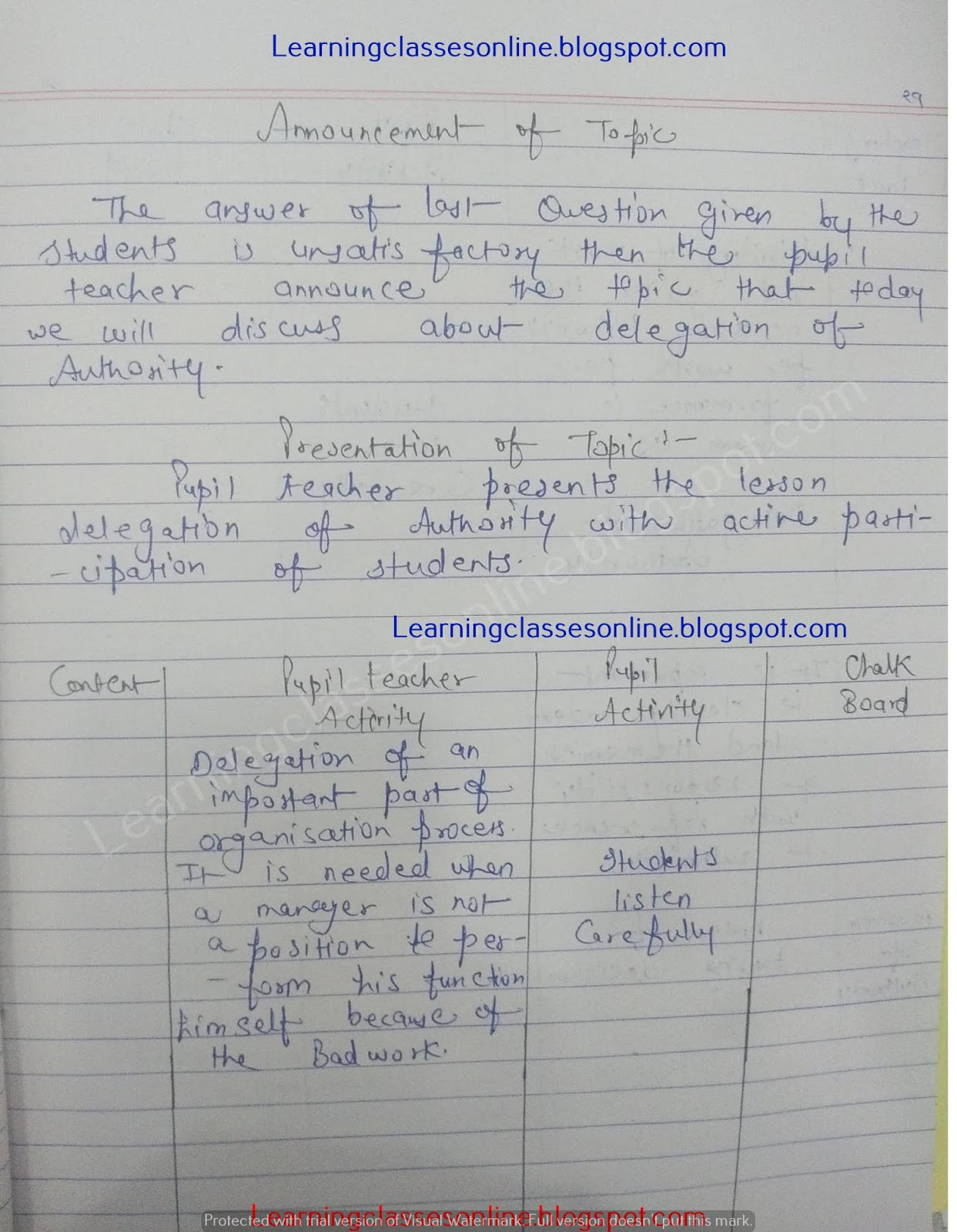 b.ed teaching practical lesson plan file of commerce in english