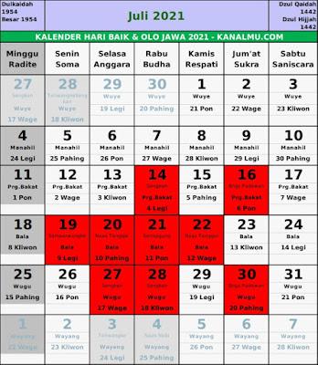 Kalender hari baik juli 2021