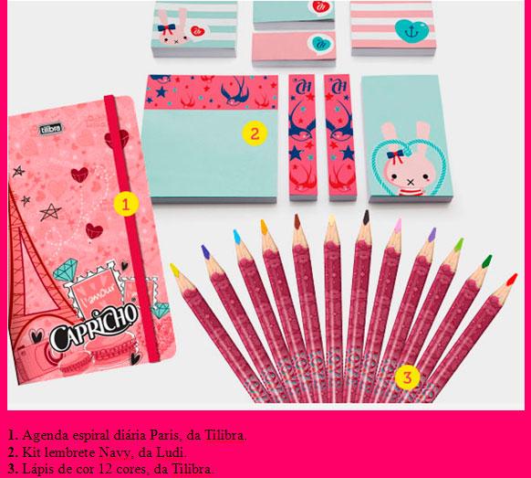 Material escolar da linha Capricho - lapis, caderno e canetas