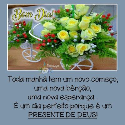 Toda manhã tem um novo começo,   uma nova bênção,   uma nova esperança...  É um dia perfeito porque é um  PRESENTE DE DEUS!  Bom Dia!