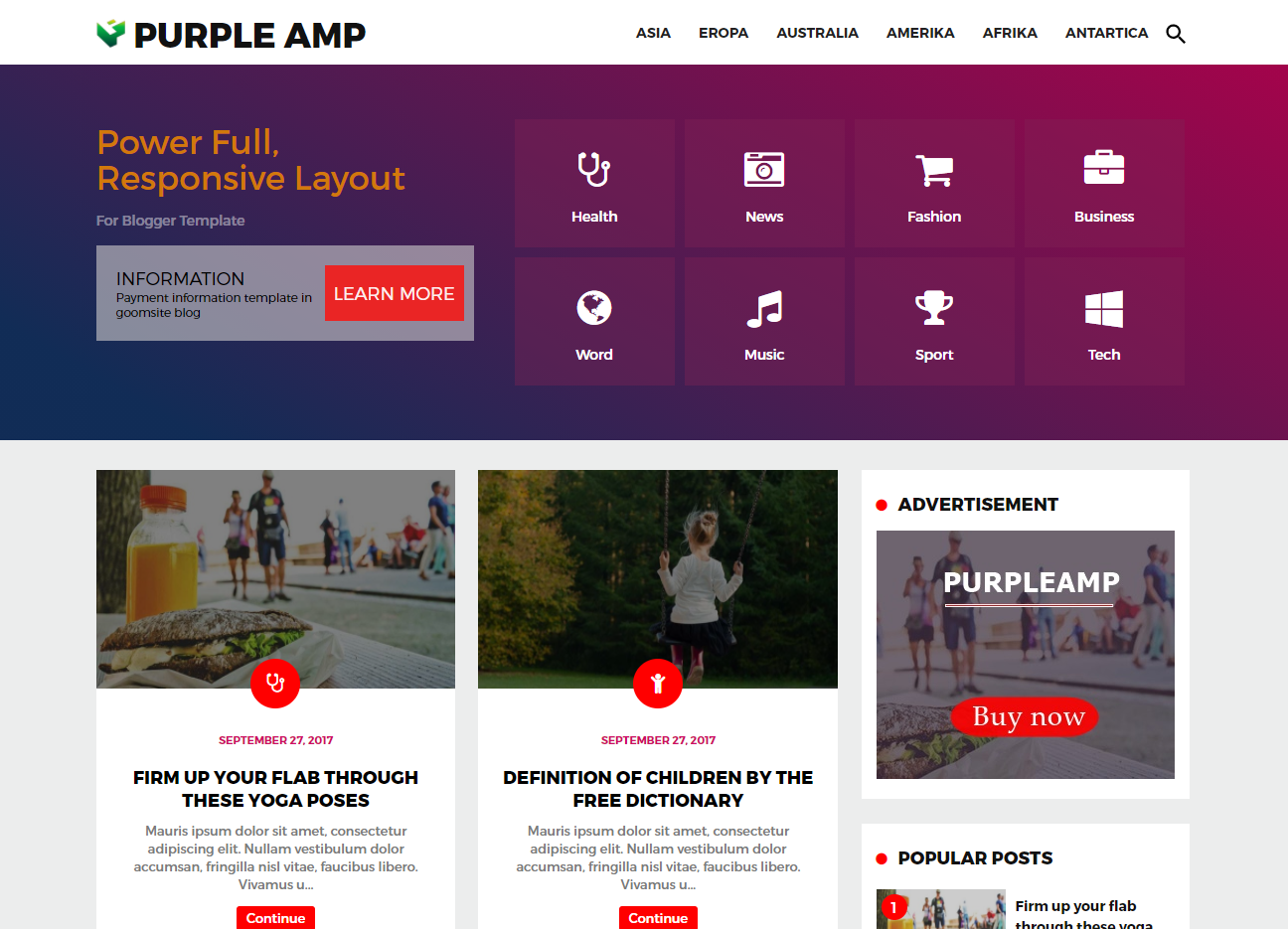 Purple AMP HTML Responsive Blogger Template