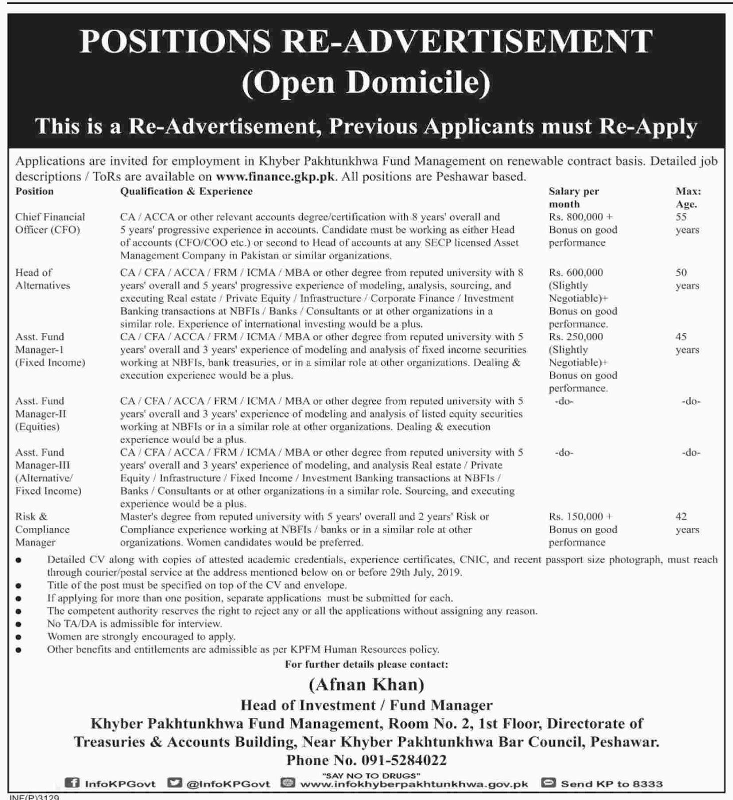 Finance Department Govt Of KPK Jobs 12 July 2019